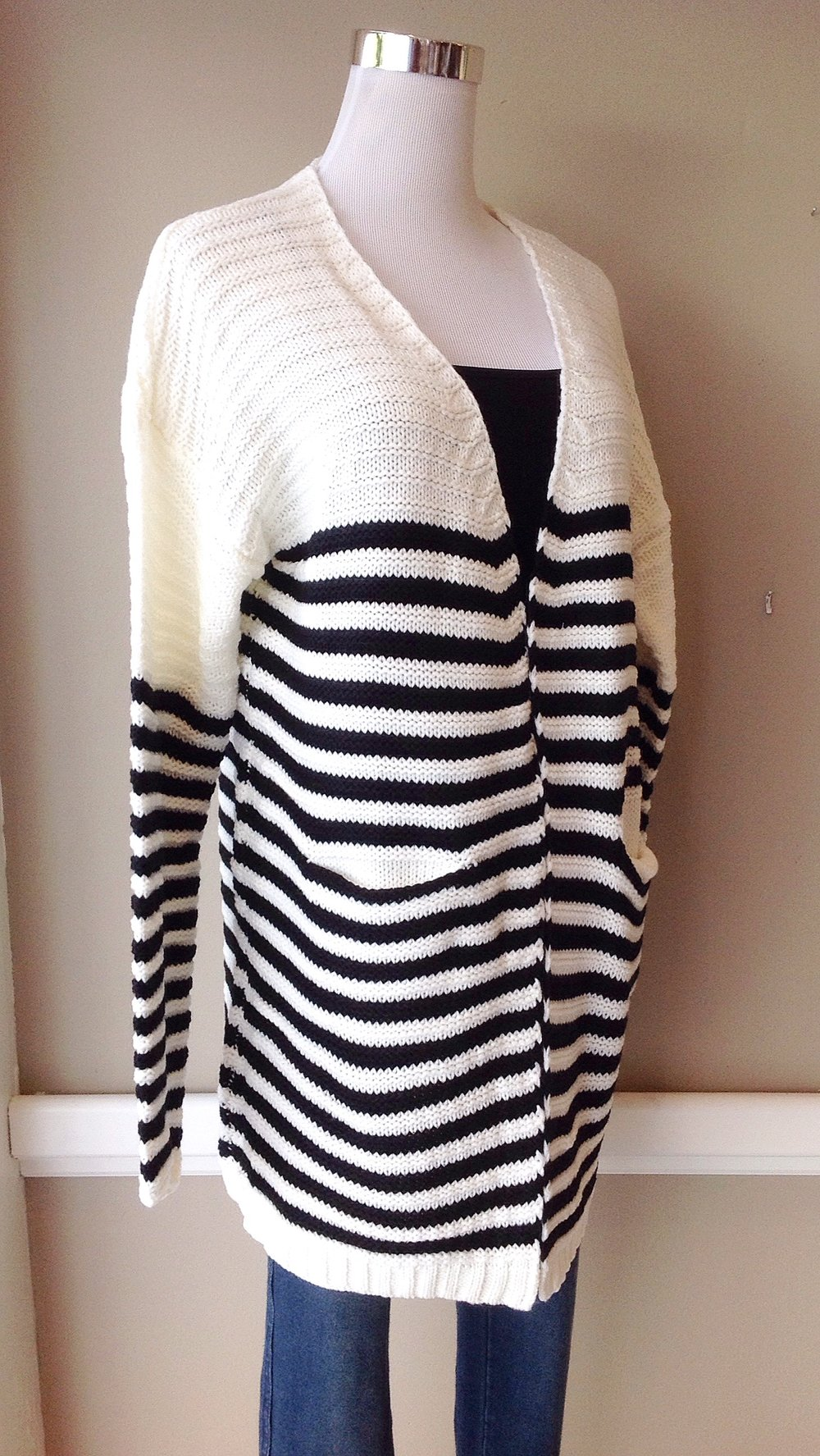 Chunky ivory and black stripe cardigan with pockets, $38