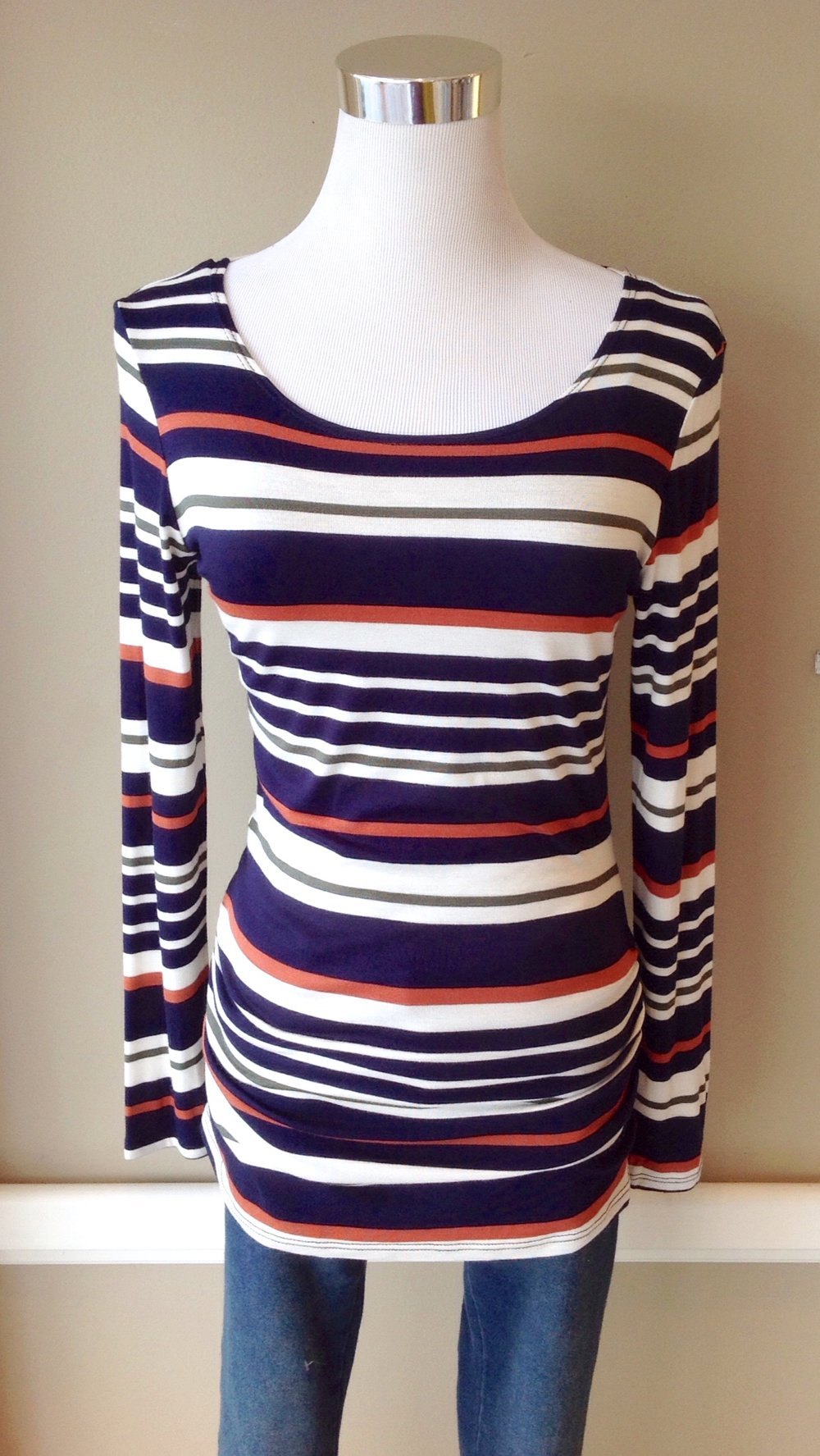 Multi stripe knit top with soft side seam ruching, $28