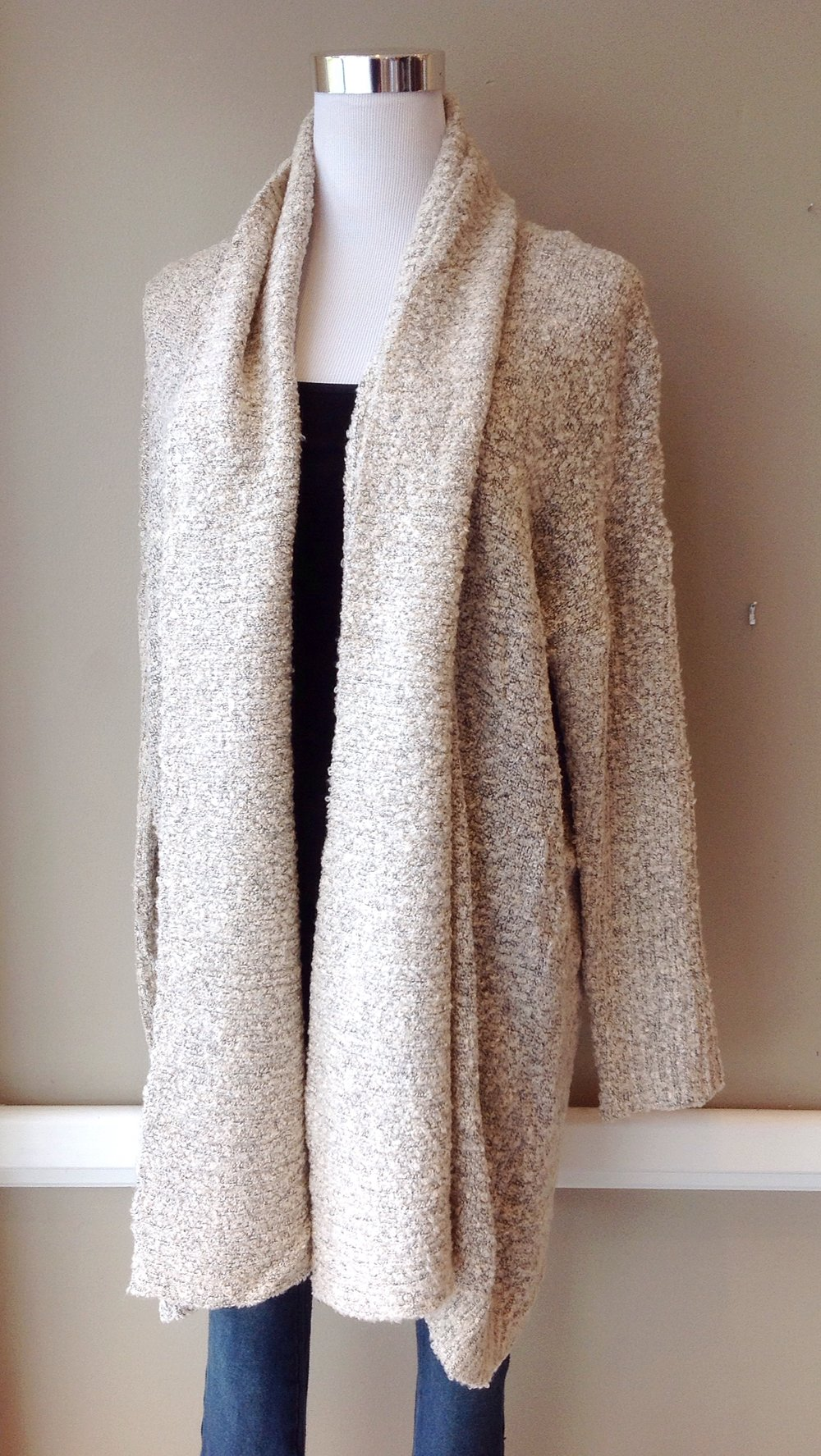 Bouclé open-front cardigan in oatmeal, $38