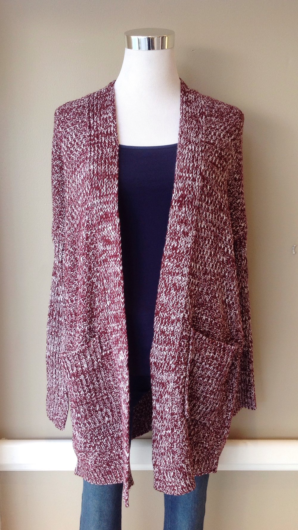 Burgundy and white marled cardigan with patch pockets, $35