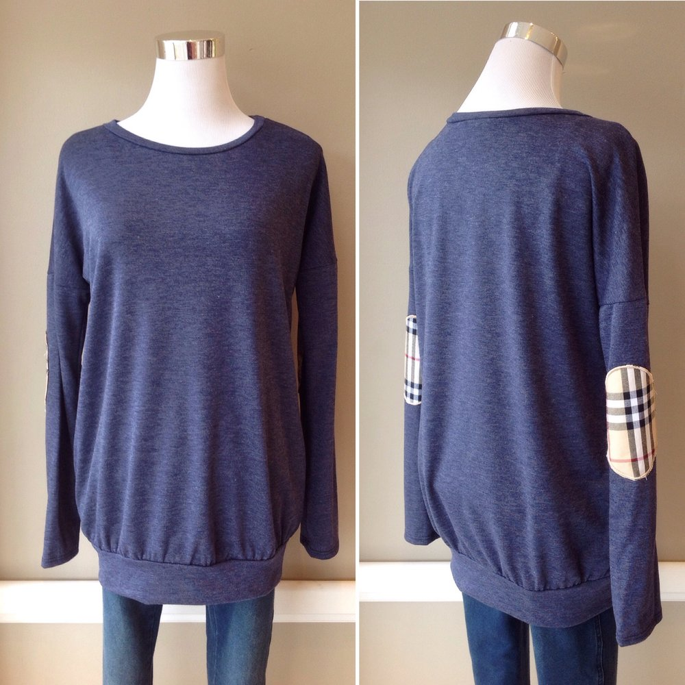 French terry tunic sweatshirt with plaid elbow patches, $38
