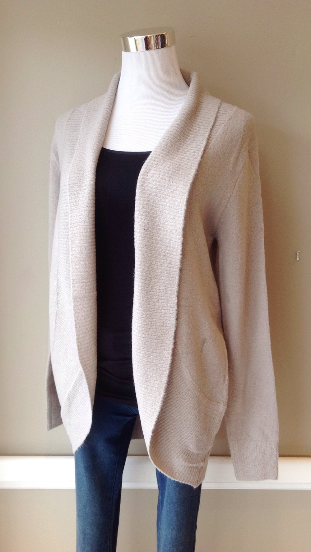 Cotton/acrylic shawl collar cardigan in light mocha