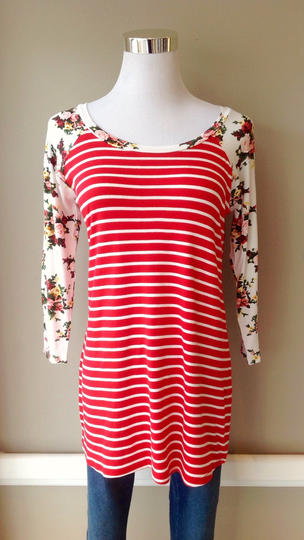 Stripe and floral baseball top in red/multi, $28