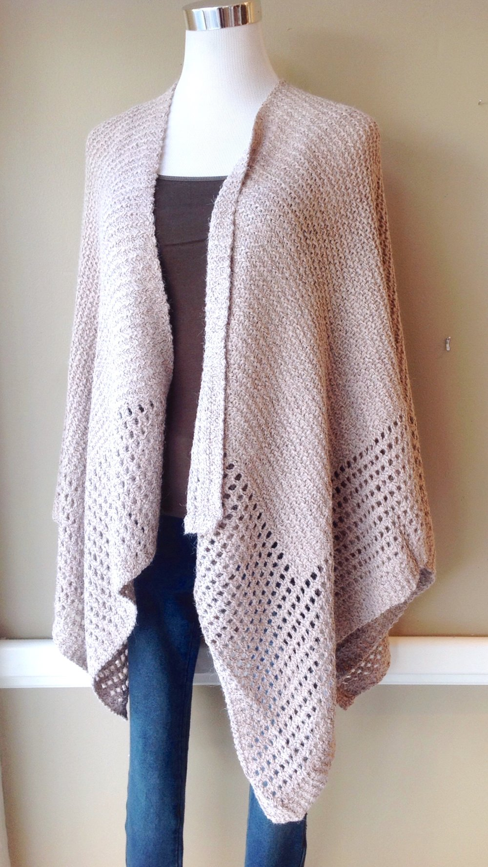 Dusty pink knit ruana, $40