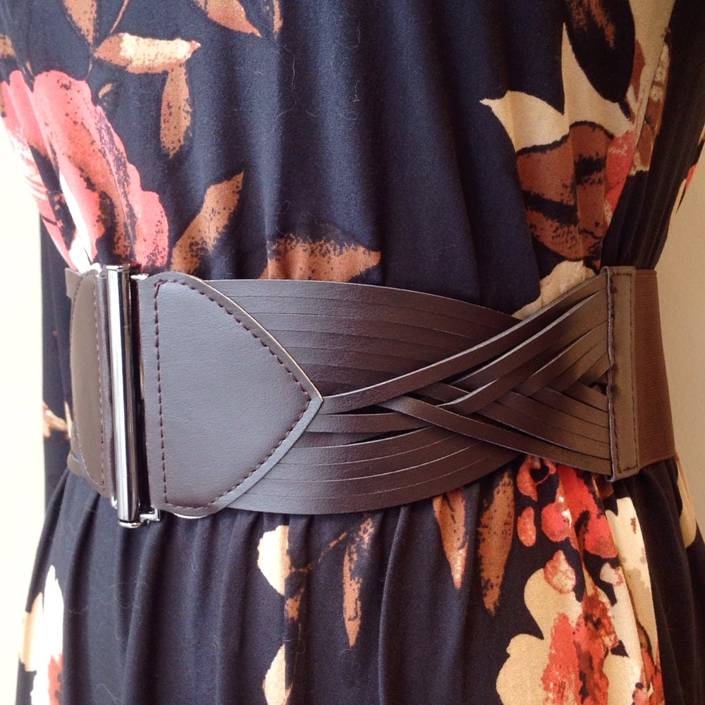 Wide brown belt with elastic and strappy detail, $12. Also available in black.