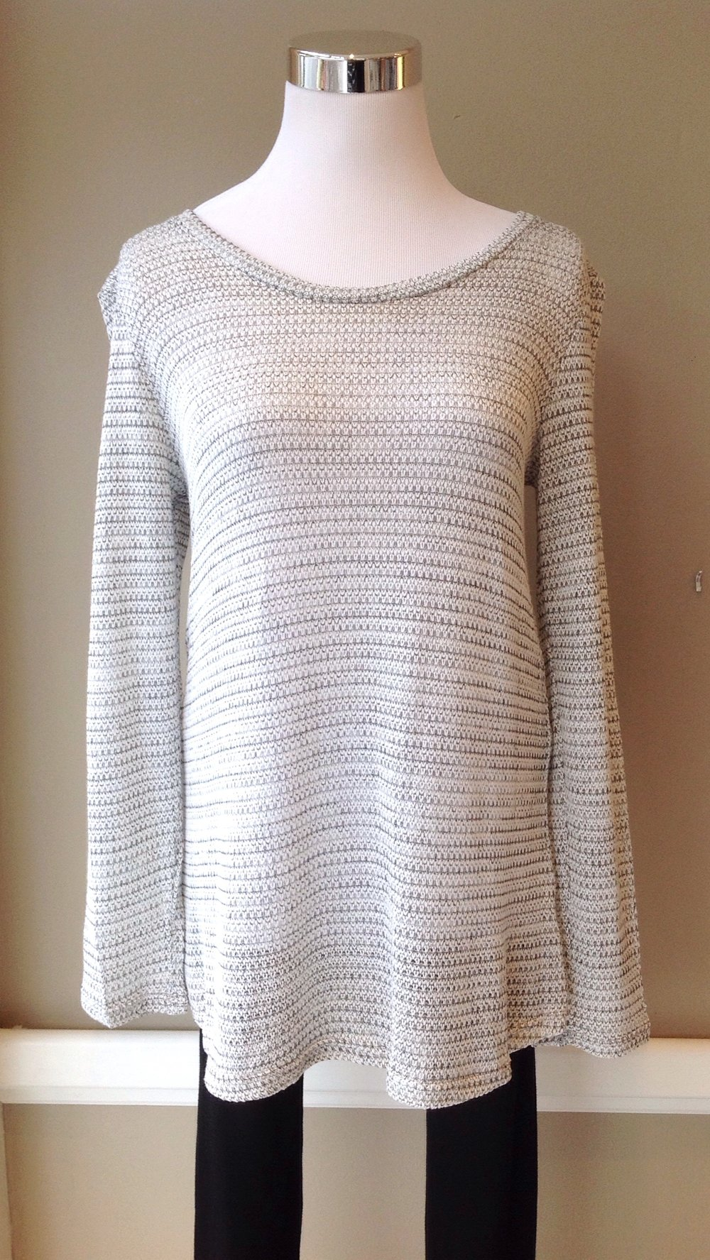 Space stripe lightweight sweater in ivory/heather grey, $34