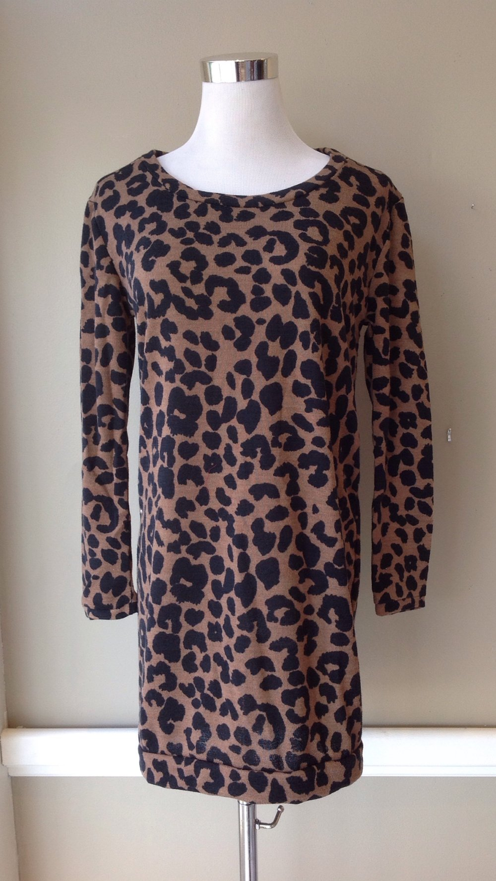 Sweater knit tunic dress in brown/black animal print, $35