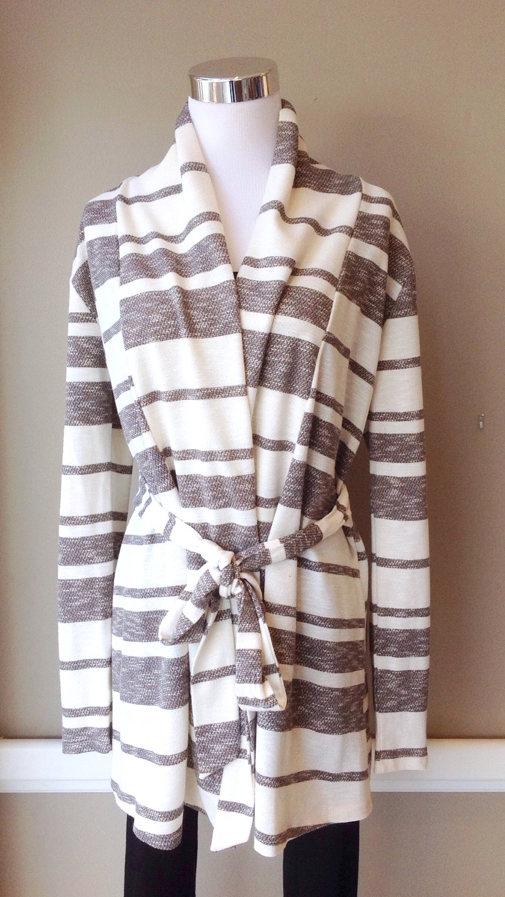 Striped knit cardigan with self tie in grey/off-white, $38