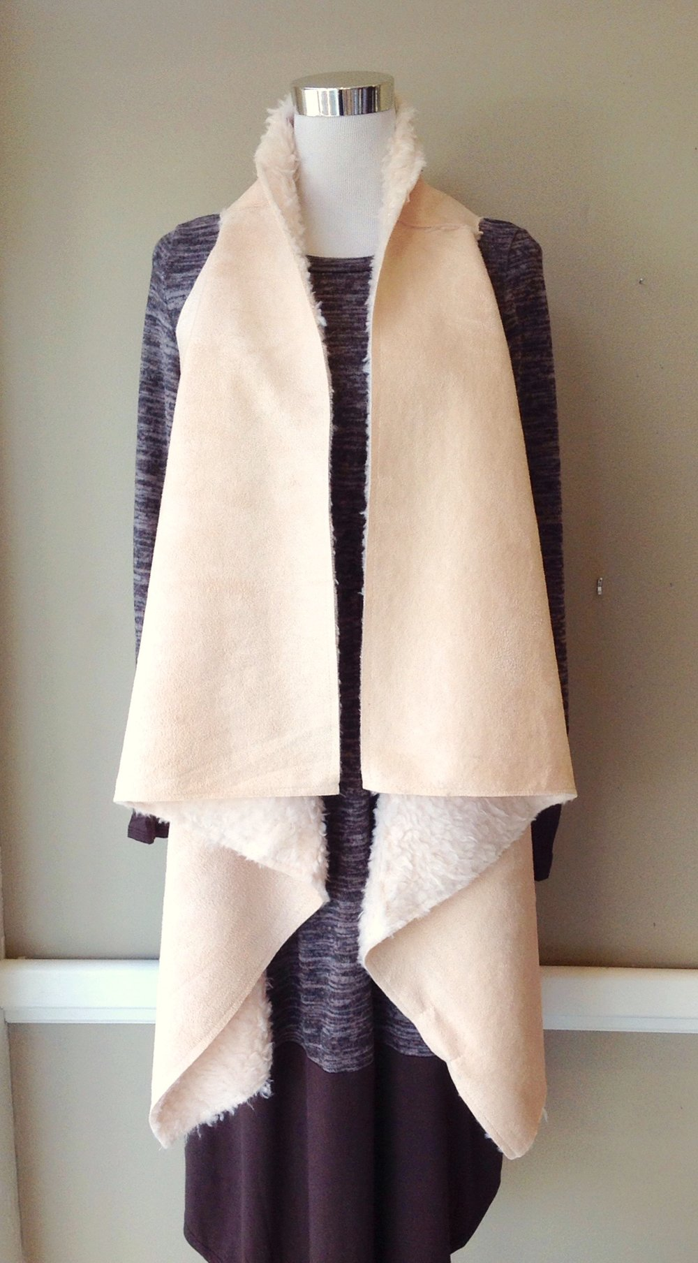 Taupe faux suede vest with cozy lining, $38