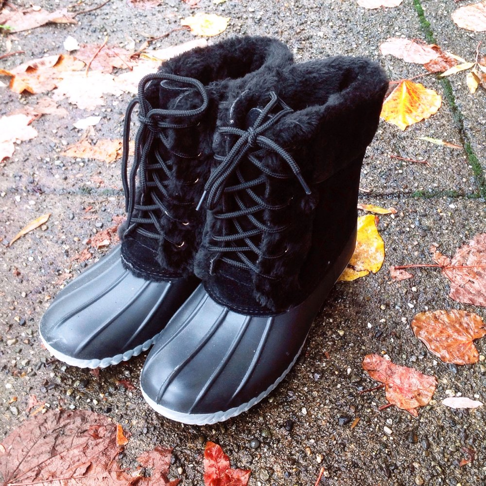 Water repellent duck boots with furry lining, $48