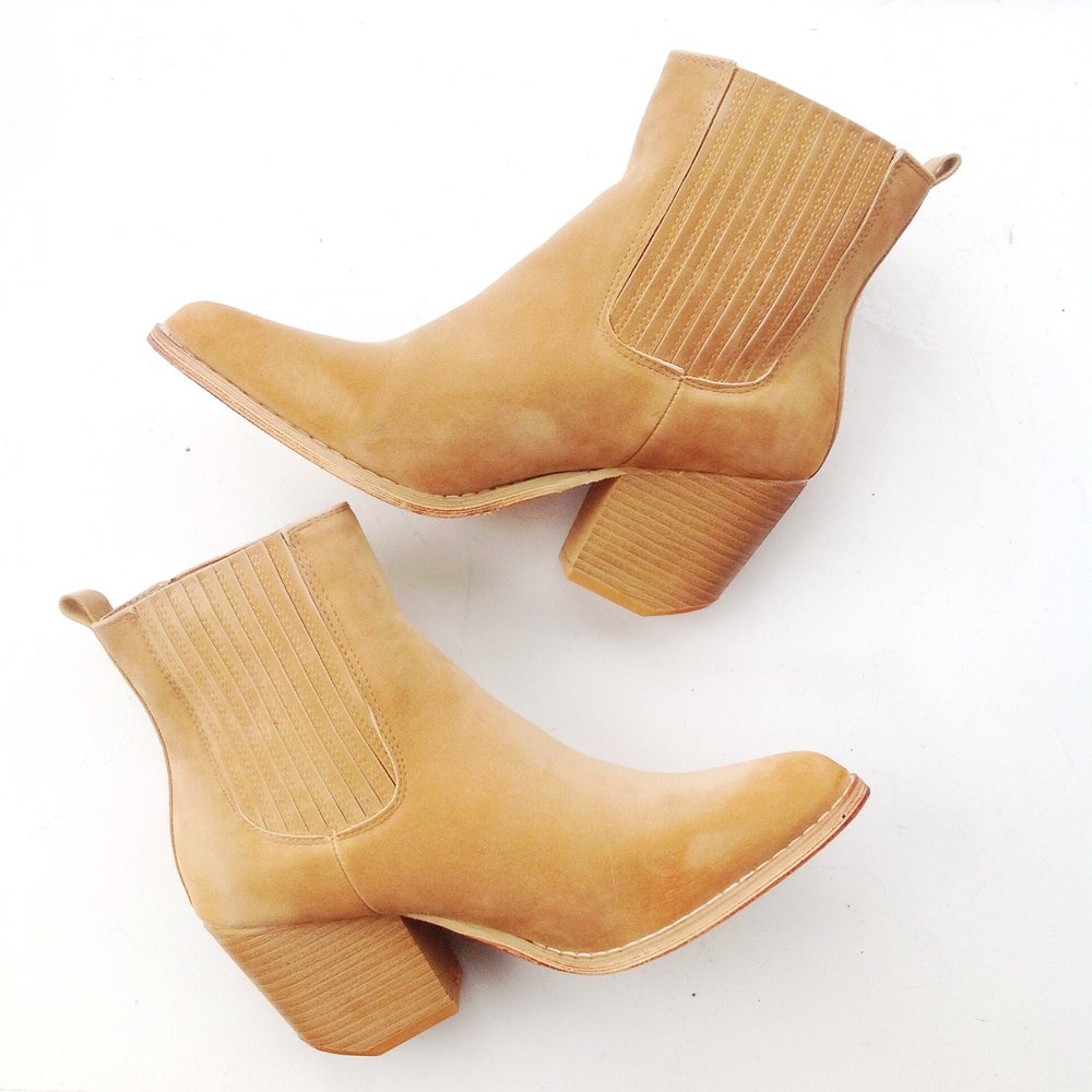 "Faux suede, short pull-on boots with 3"" stacked heel in camel, $48"