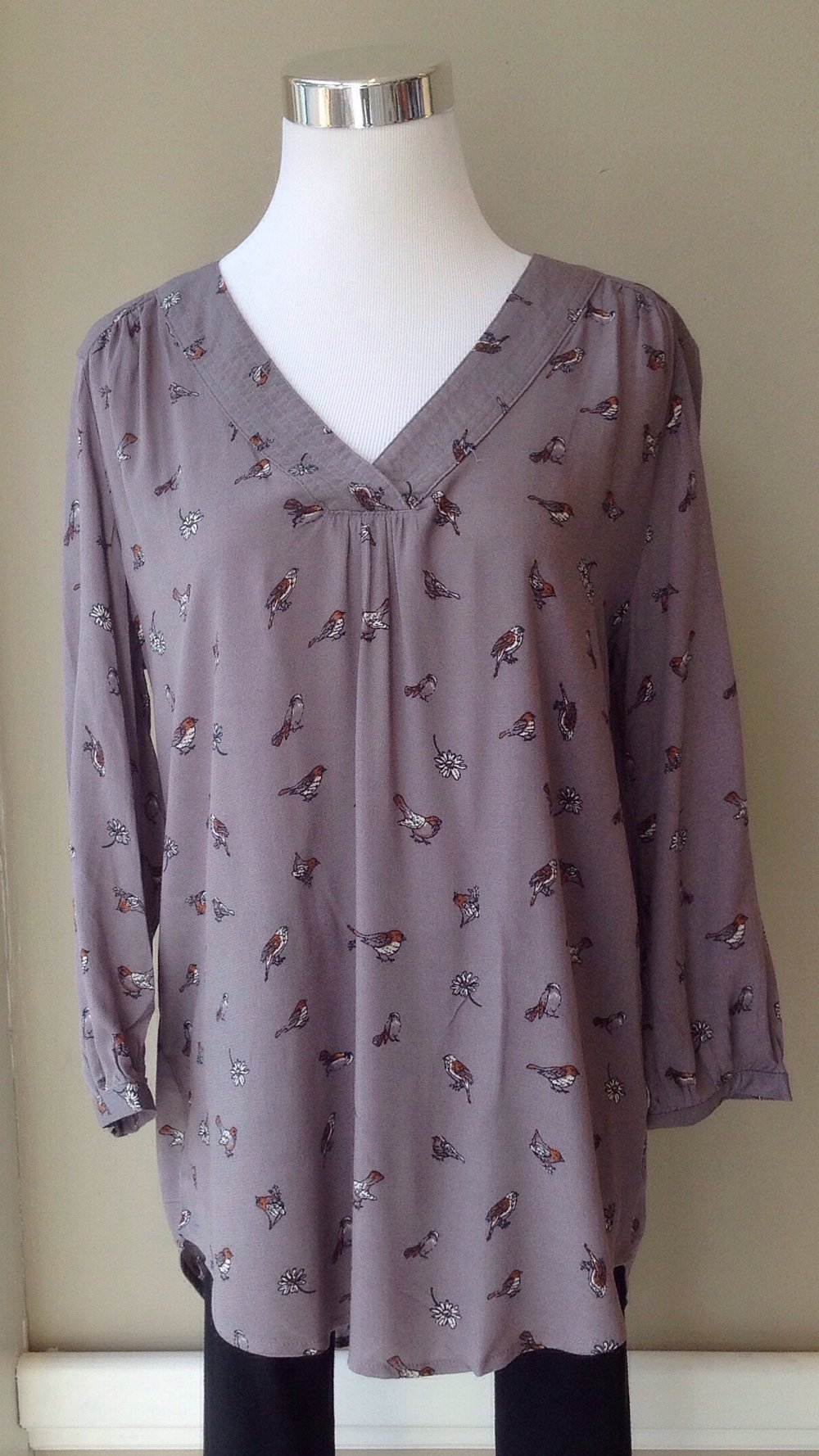 Woven bird print blouse in slate, $35