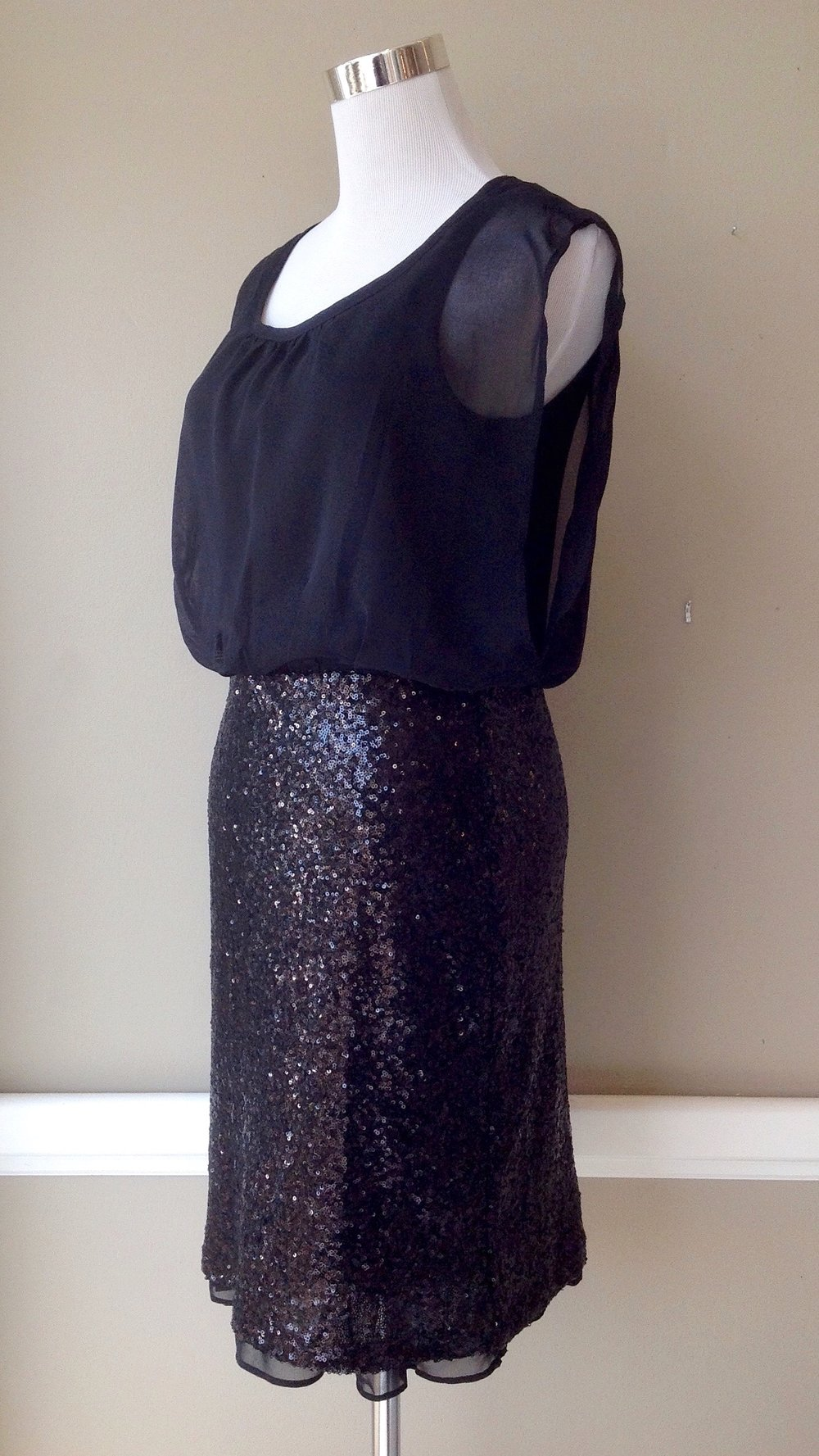 Layered chiffon dress with contrasting, fitted sequin skirt $62