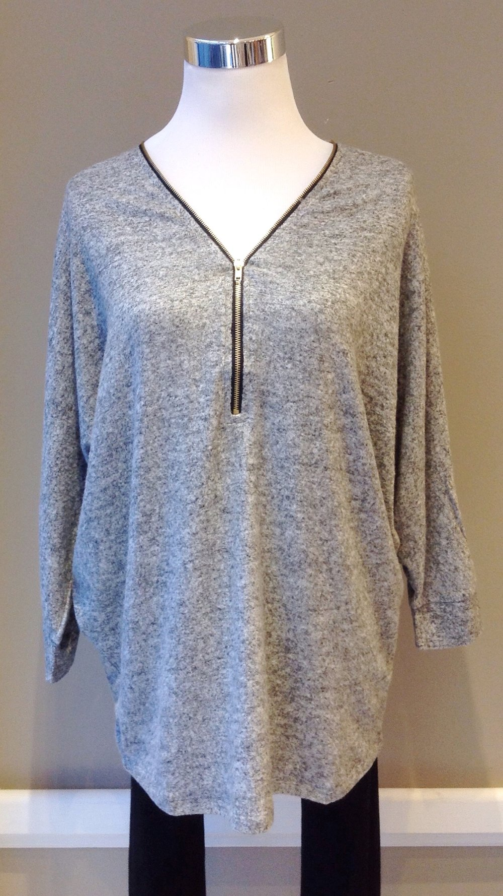 Heather grey front zip sweater with batwing sleeves