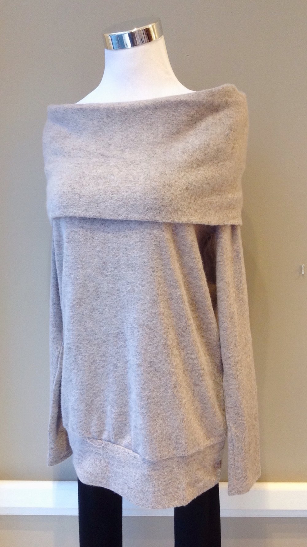 Ultra soft off-the-shoulder sweater in taupe, $38
