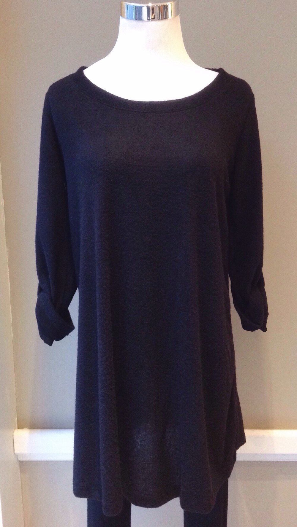 Soft sweater knit tunic with roll tab sleeves, $35