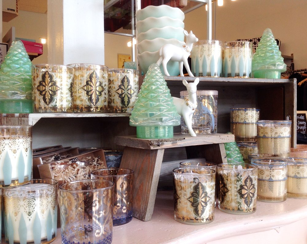 New glassware, holiday decor and candles, $10-$26.