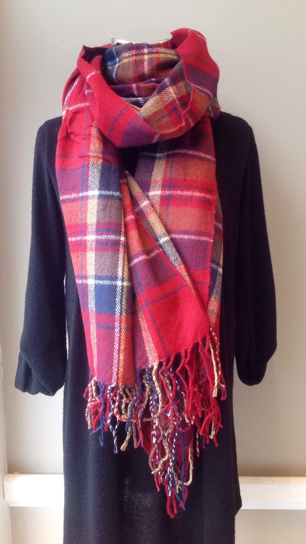 Plaid blanket scarf, $26. Additional styles and colors available!