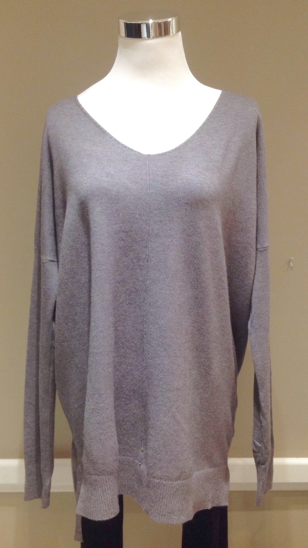 Ultra soft v-neck sweater with high-low hem in charcoal, $40