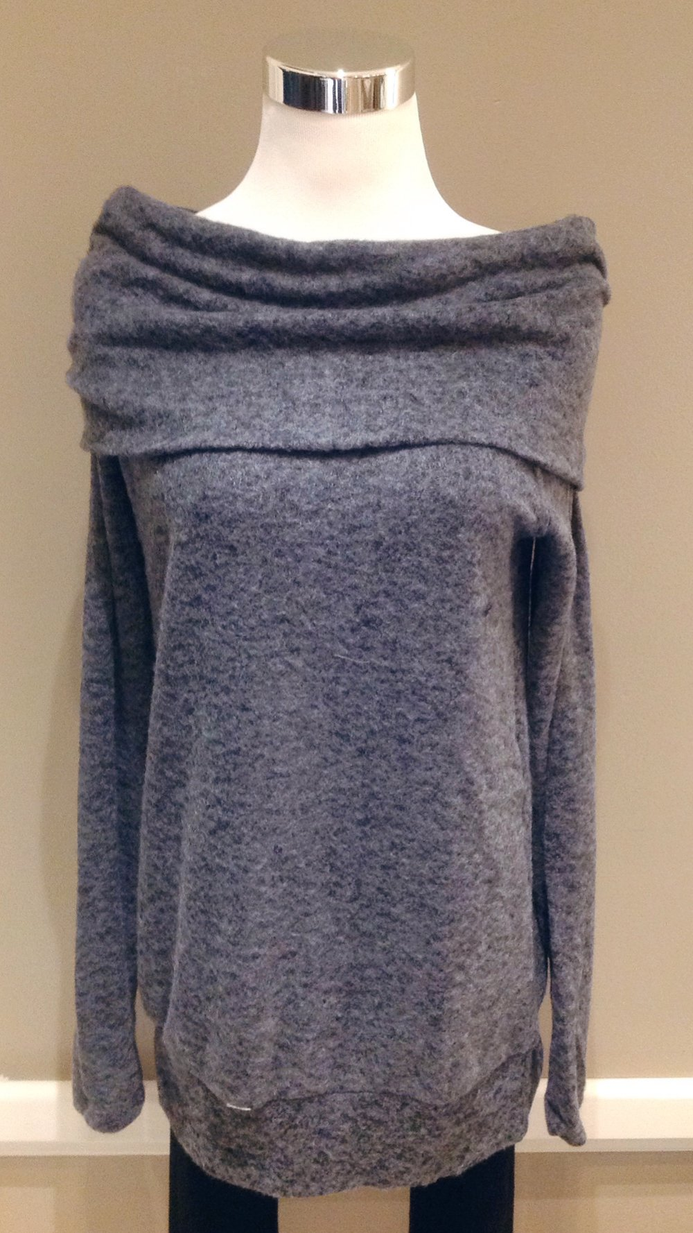 Fleecy off-the-shoulder sweater in charcoal, $38
