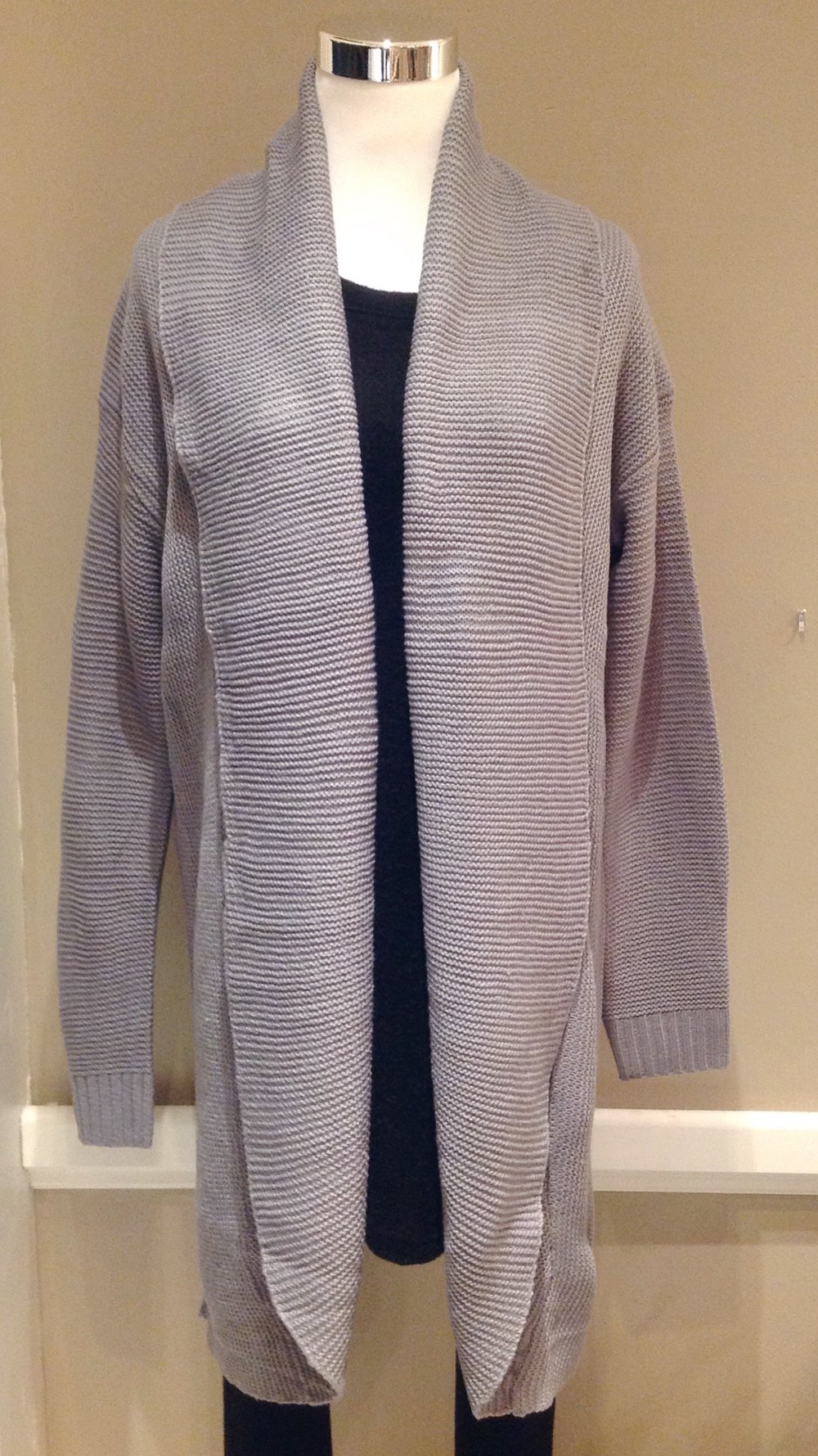 Cotton blend cardigan with rounded hem in steel grey