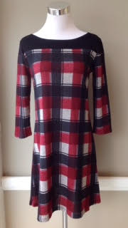 Plaid tunic dress in black/ivory/wine $42