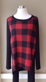 Buffalo check top in red/black, $32