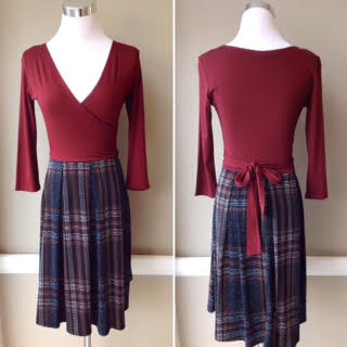 Wrap front knit dress with back tie and 3/4 sleeves in wine/grey plaid, $42