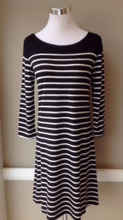 Black and white stripe knit dress, $42