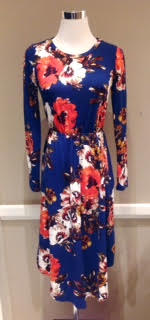 Floral knit midi dress with rounded hem and side pockets, $38