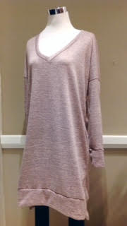 Loose fit sweater dress in two-tone dusty pink, $35