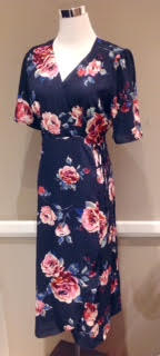 Fully lined, poly chiffon wrap dress in navy floral, $54
