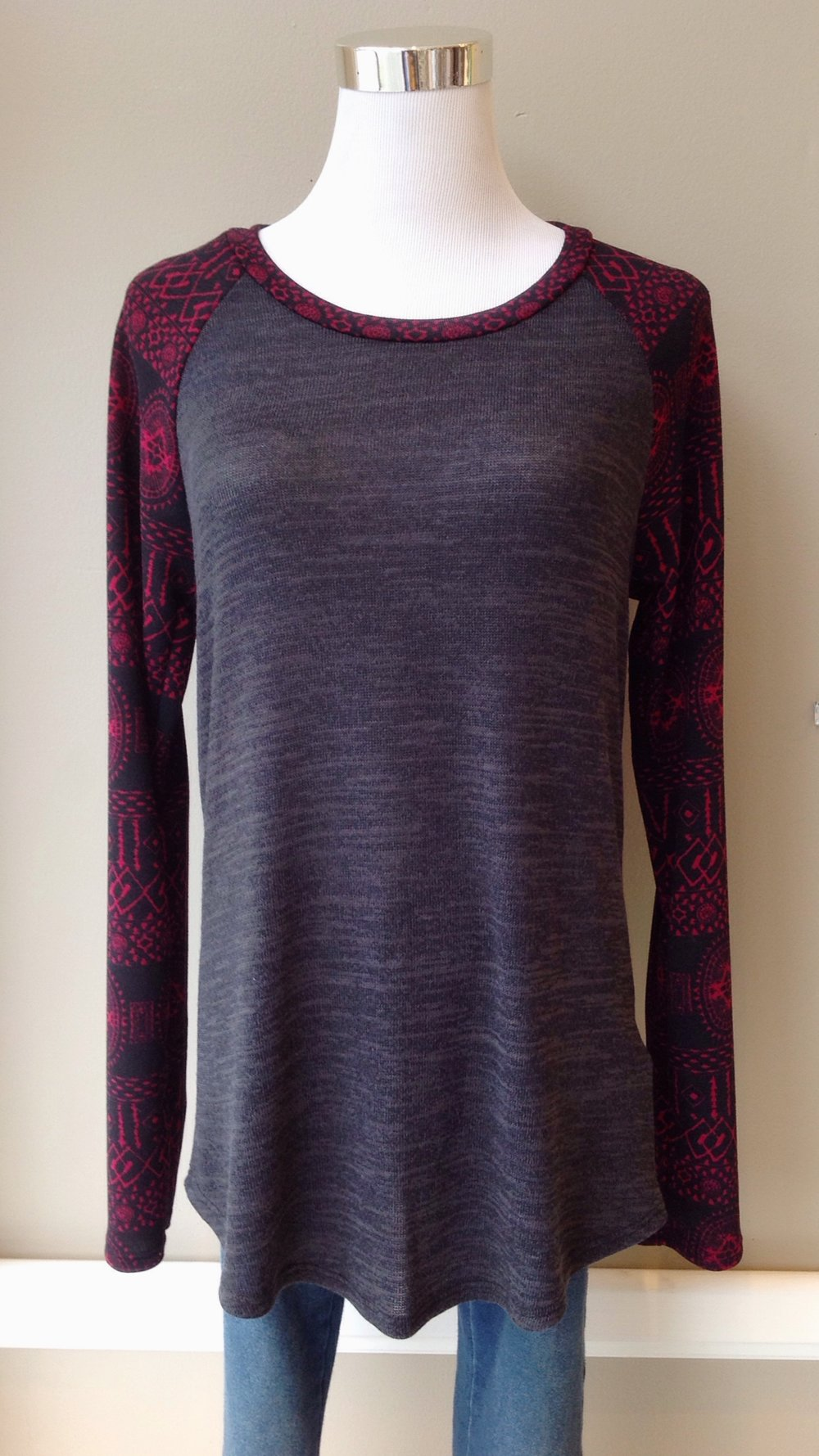 Sweater knit baseball top in charcoal/wine/black, $34