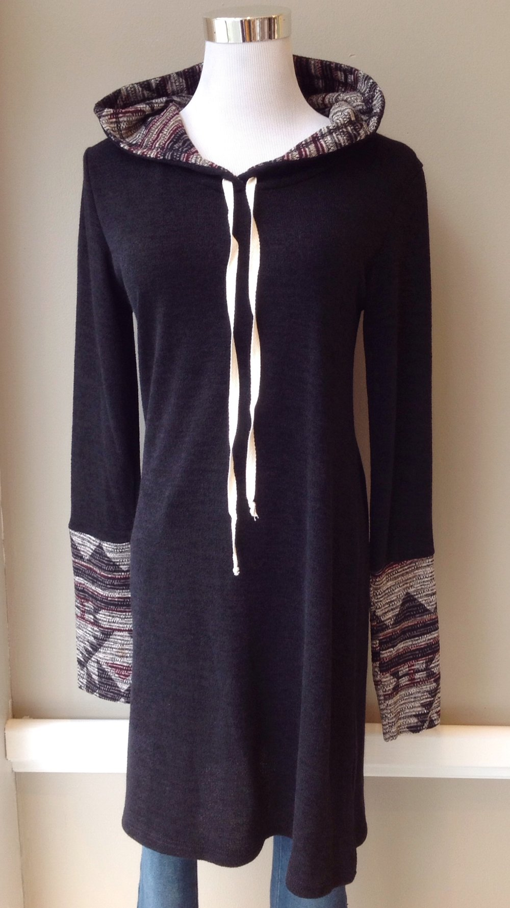 Sweater knit tunic with hood in black/multi, $38