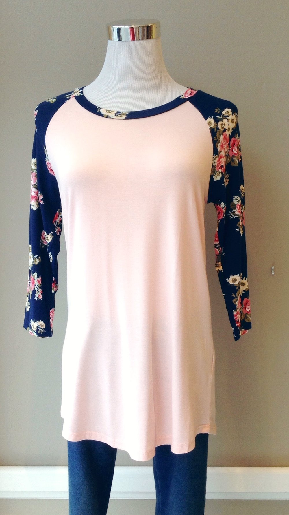 Pink and navy floral baseball top, $28