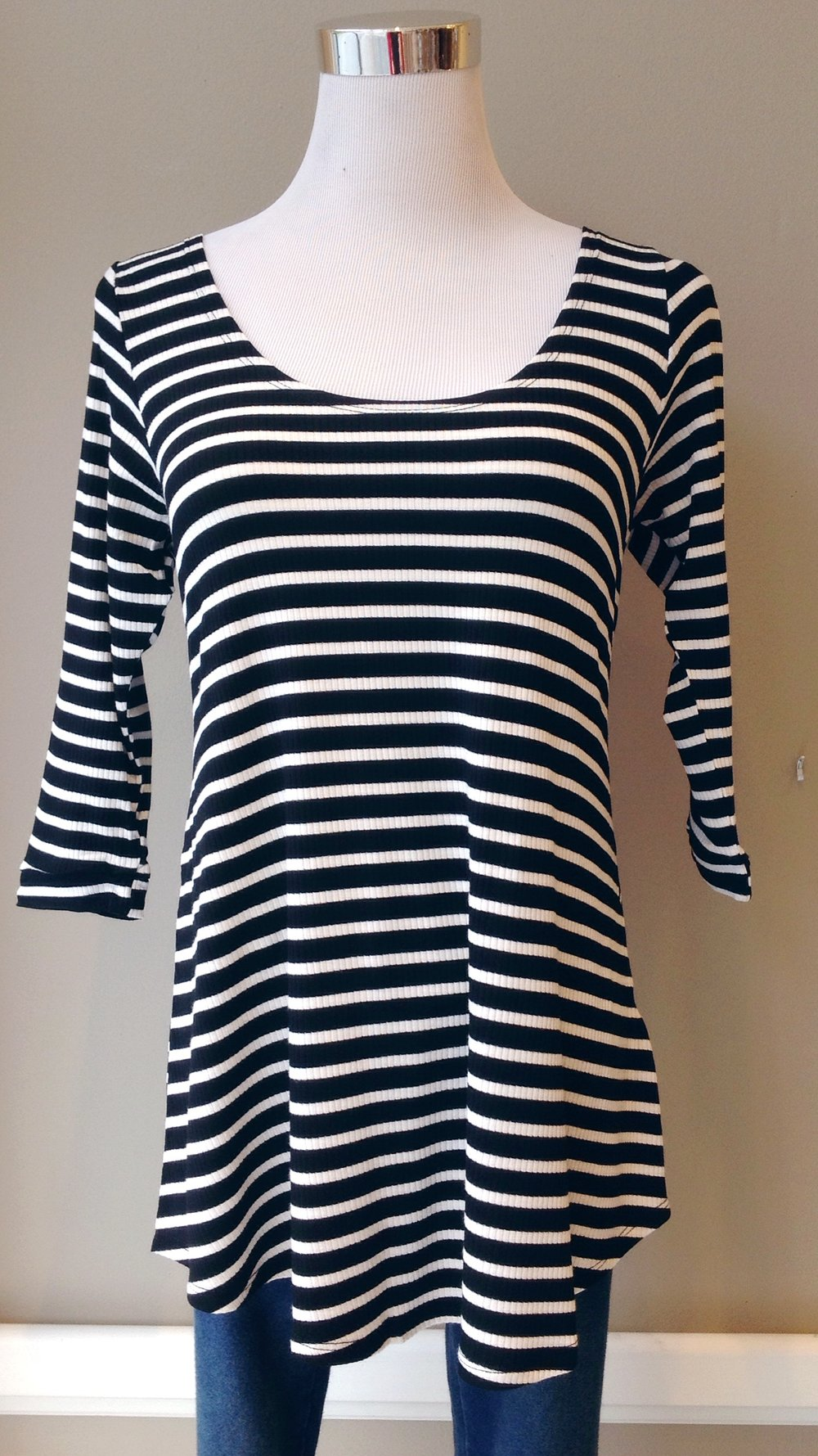 Rib knit top with 3/4 sleeves in black and white stripe, $26