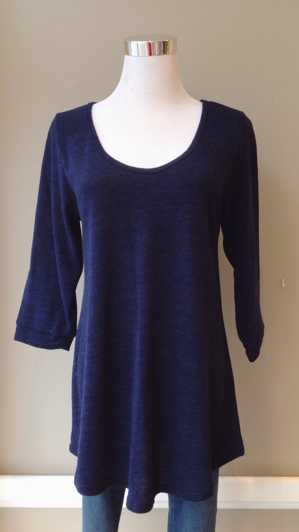 Navy scoop neck sweater with 3/4 sleeves, $30