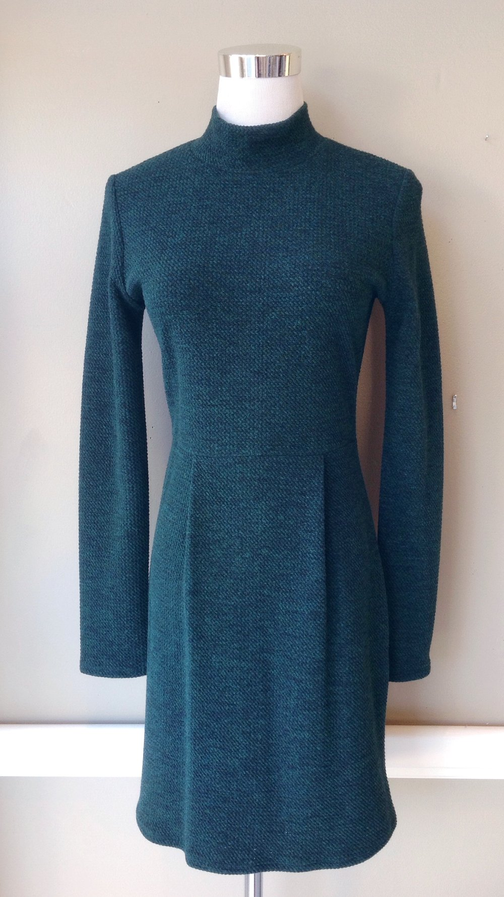 Mock neck knit dress in hunter, $45