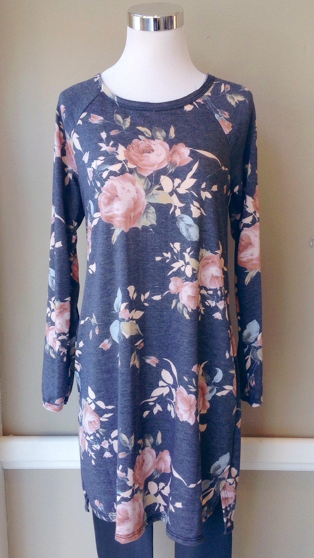 Floral knit tunic dress in grey/pink, $38