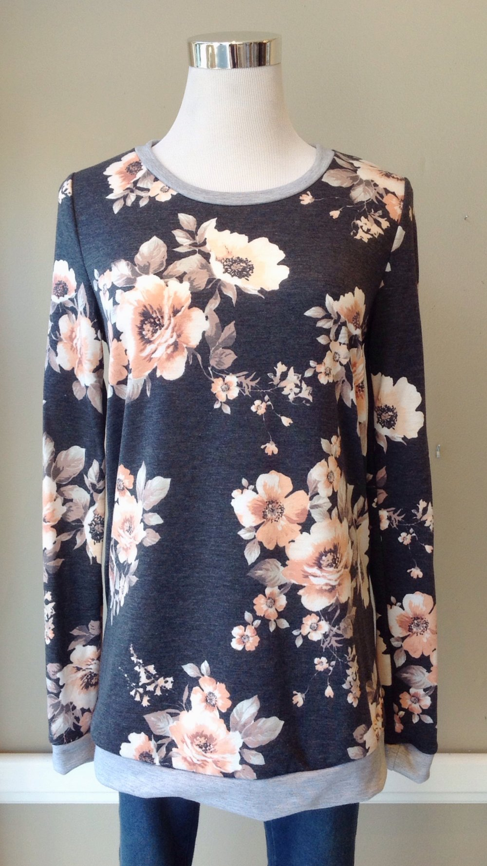 Grey and pink floral sweatshirt, $32