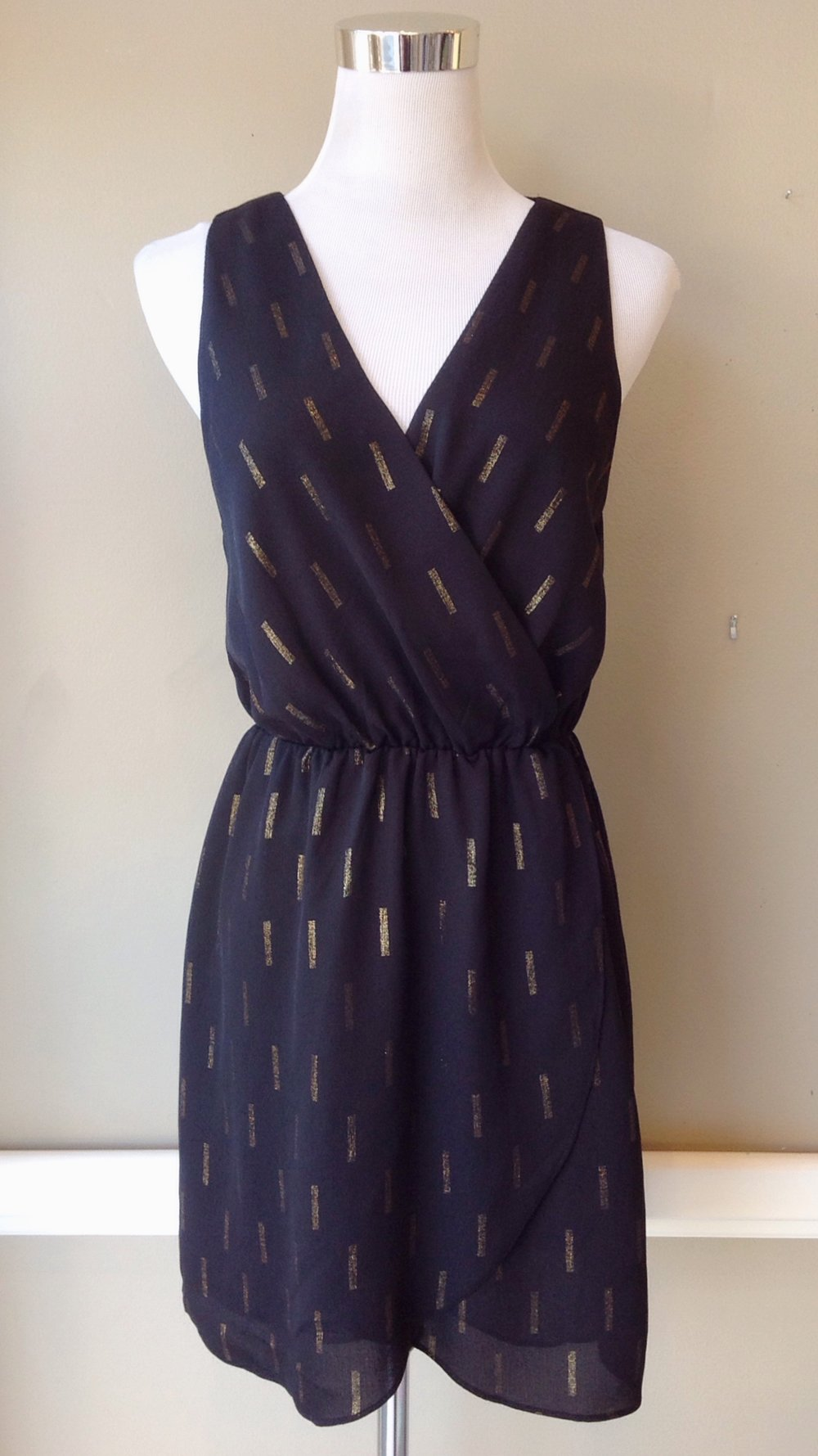 Black foil print surplice dress $48