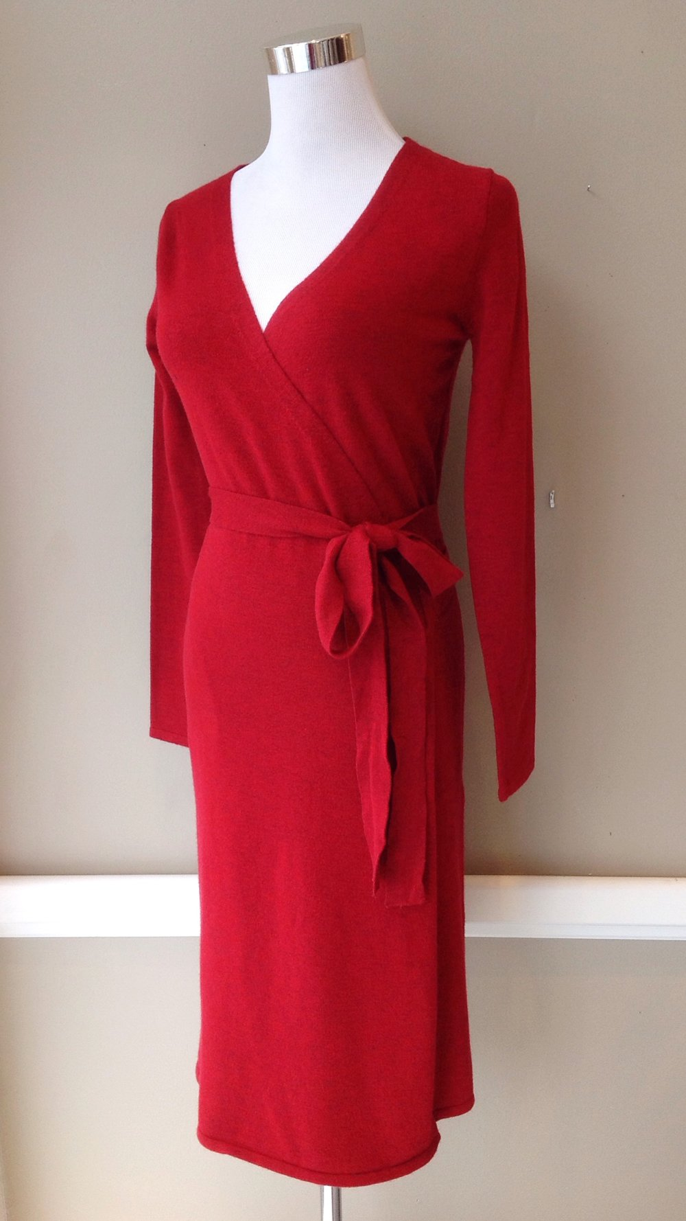Light sweater knit wrap dress in deep red, $52. Also available in black