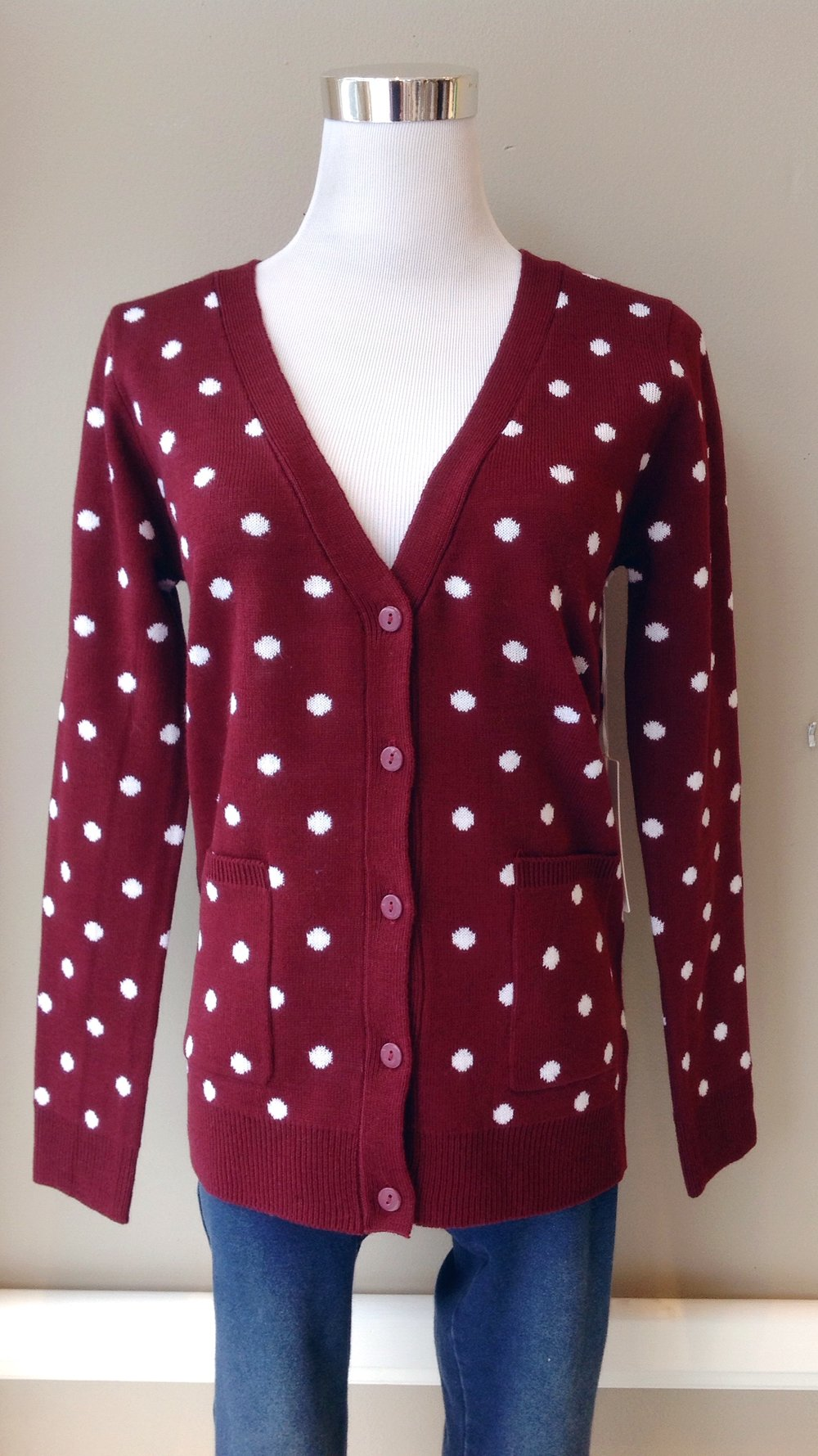 Burgundy polka dot cardigan with side pockets, $35
