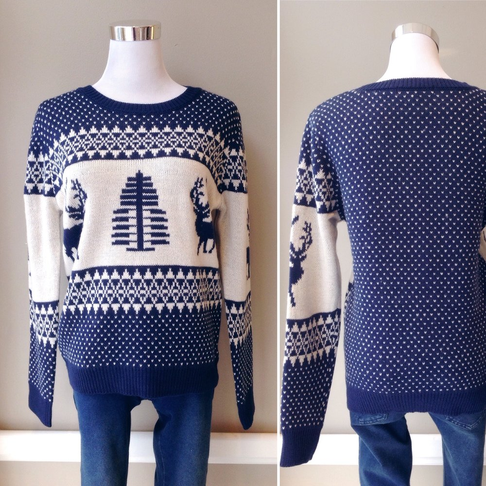 Navy and off-white winter theme sweater, $35