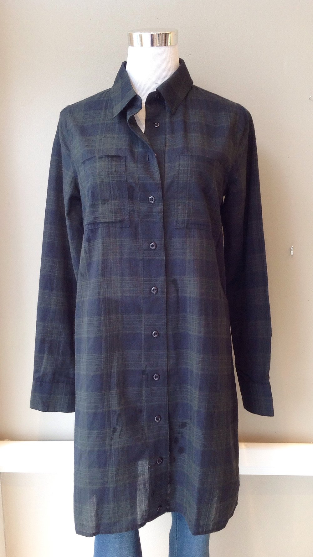 Long cotton plaid shirt in hunter/slate, $45
