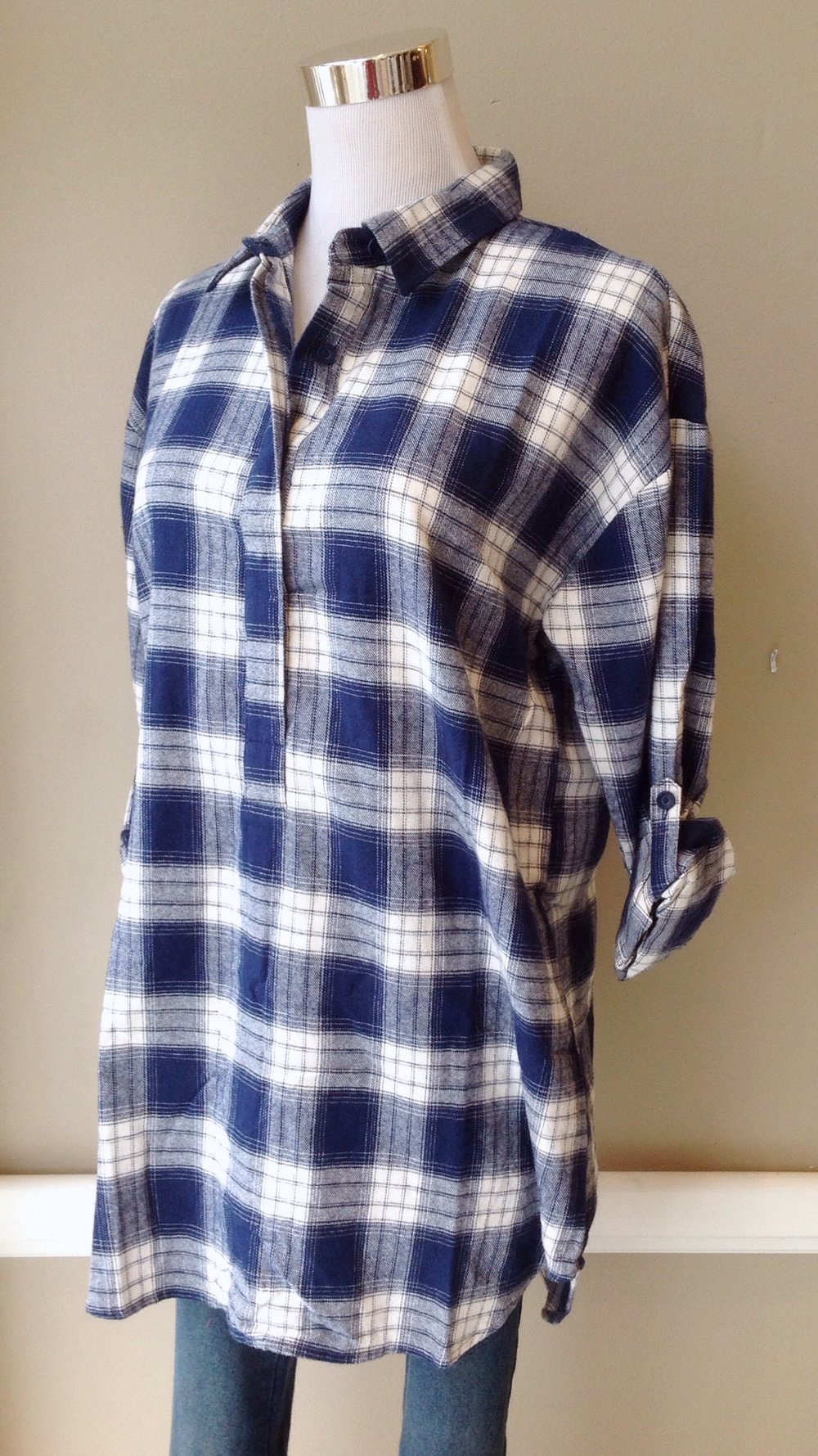 Rayon flannel popover top with roll tab sleeves in navy/ivory, $34