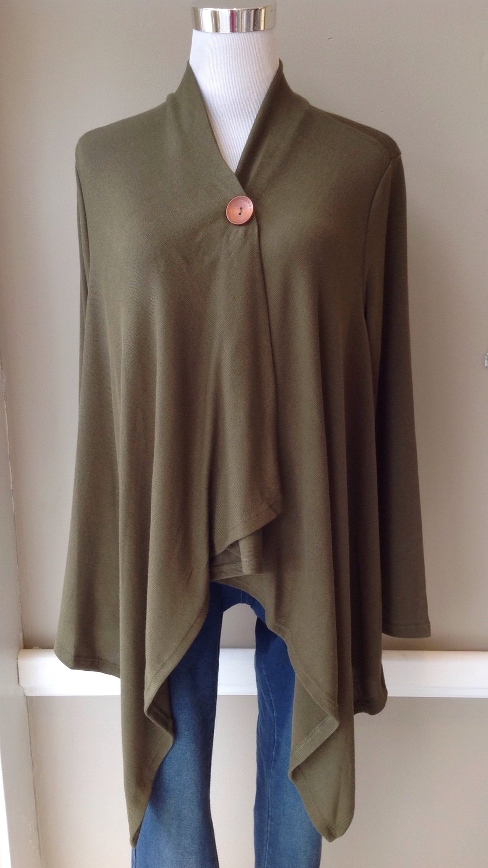 One button, asymmetrical cardigan in olive, $32