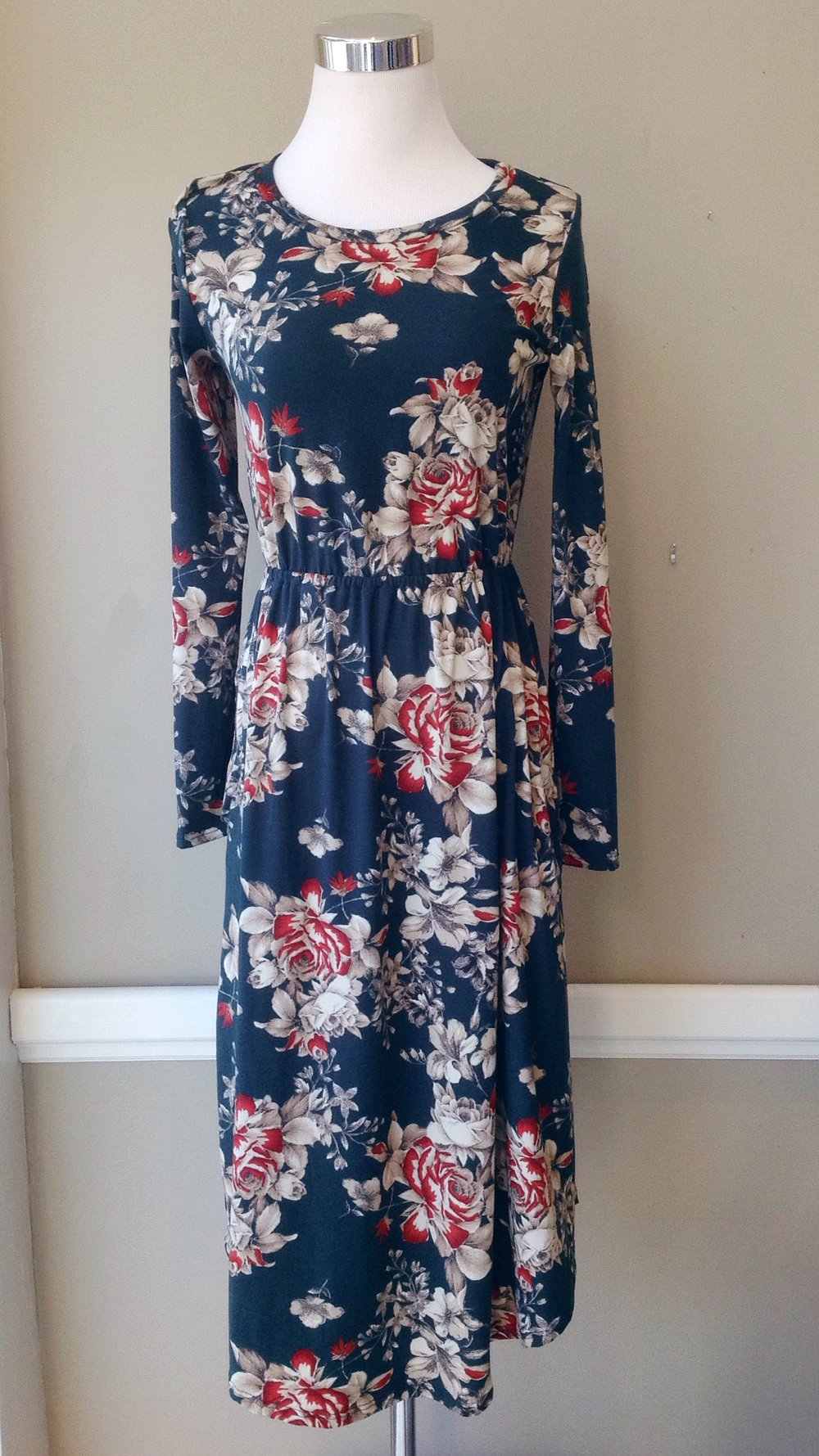 Floral midi dress with gathered waist and side pockets in hunter/taupe/red, $38. Also available in black/taupe/red.