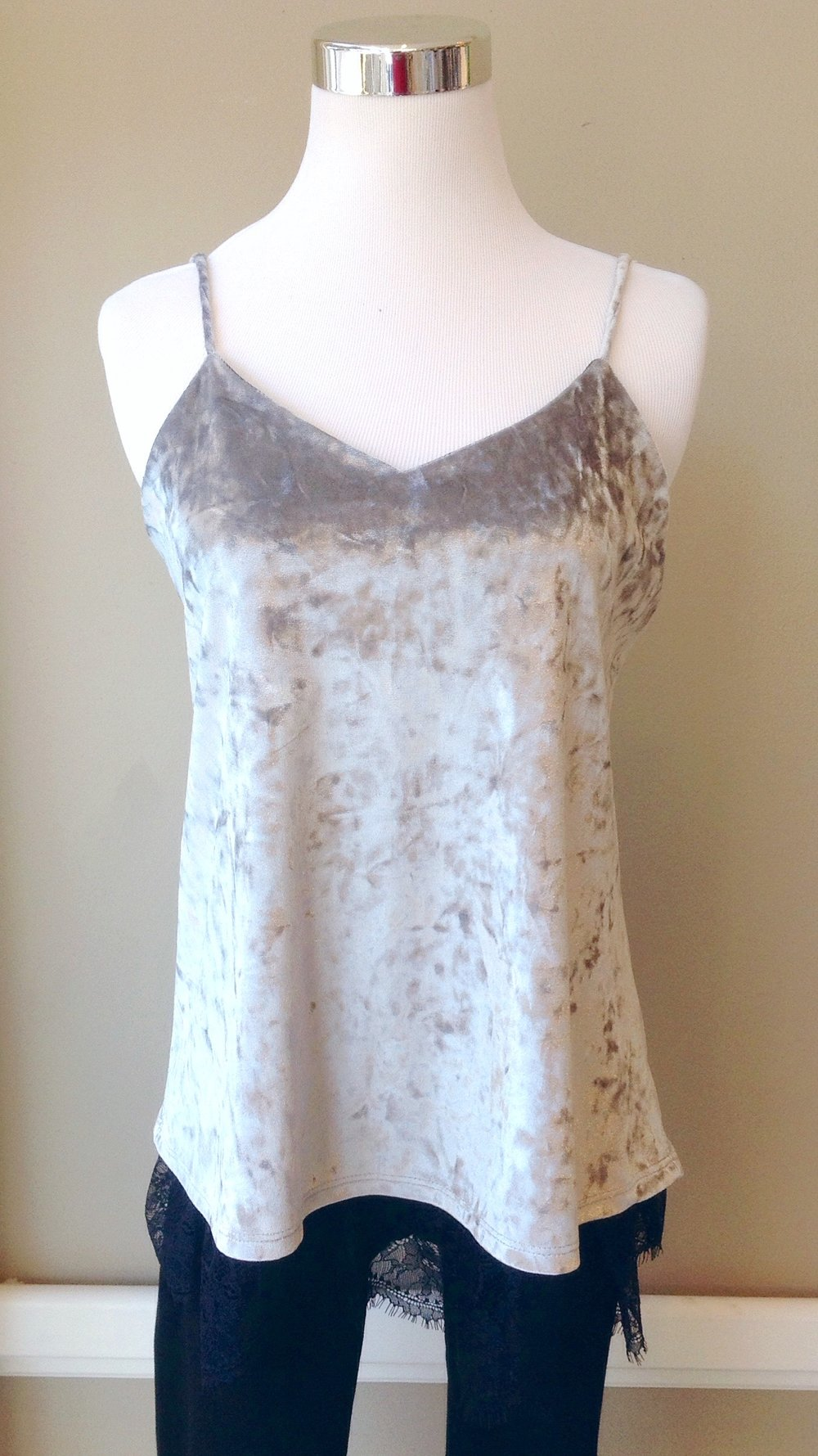 Silver velvet tank with adjustable straps and lace trim, $34