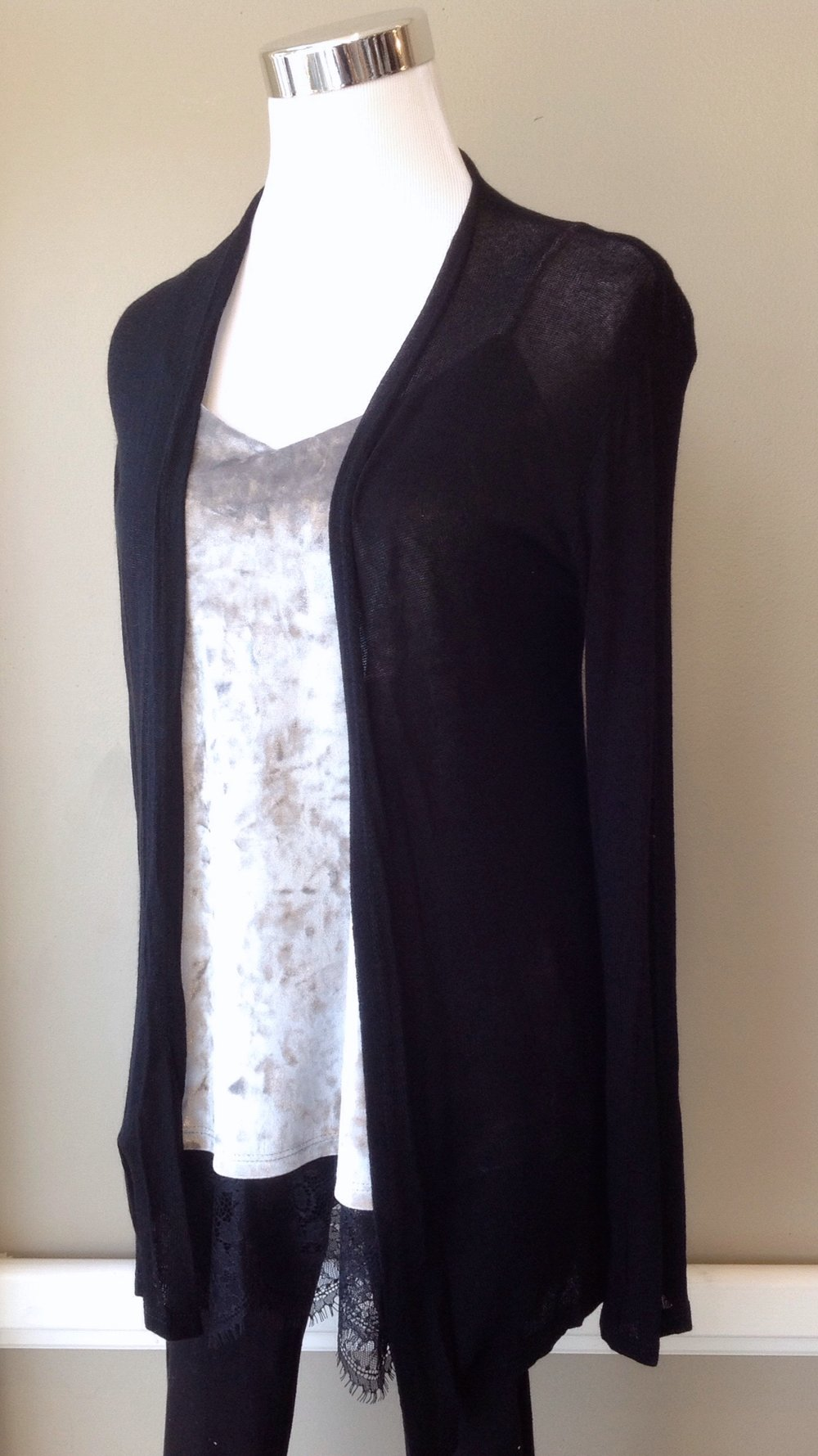 Sheer open front cardigan in black, $28